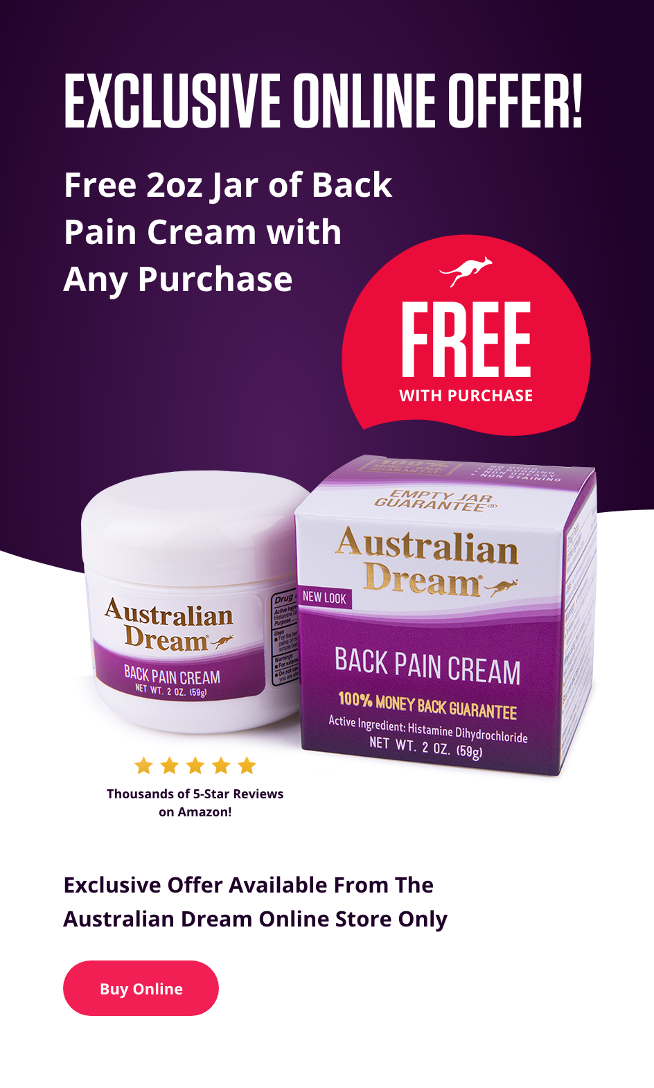 Free 2oz Jar of Back Pain Cream with Any Purchase